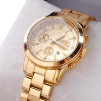rose - Hot Men Women Luxury Diamond Watches Fashion Rose Golden Watch Three Eye Calendar wristwatch