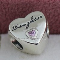 letter beads - 2015 New Sterling Silver Daughter s Love Charm Pendant Bead with Pink Cz Fits European Pandora Jewelry Bracelets Necklace