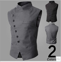 Wholesale New Arrival Men Suit Vest Slim Dress Vests Men s Fitted Leisure Waistcoat Casual Business Jacket Tops six Buttons