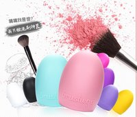 Wholesale 2015 New Brush Egg Silicone MakeUp Brush Finger Scrubber Cleaner Pink Purple Mint Green DHL free