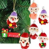 christmas decoration santa claus - 6Pcs Christmas tree Hanging Decorations Ornament Christmas Gift Santa Claus Charm Pendant Polymer clay