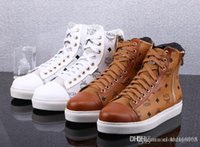 Wholesale 2015 New Fashion MCM Visetos white Urban Nomad High Fashion Sneakers Shoe Men or Women Casual Shoe Lovers Sneakers size