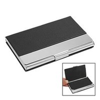 Wholesale FS Hot New Smooth Brushed Cover LID Silver Metal Business ID Credit Name Card Holder order lt no track