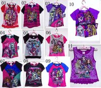 2015 11 estilo nuevo de la manera del verano Camiseta caliente del monstruo de dibujos animados de alta ropa de la muchacha camisetas Tops C001 ropa infantil