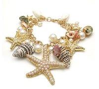 Wholesale 10pcs ot Ocean Themed Sea Life Starfish Sea Shell Charms Bracelet