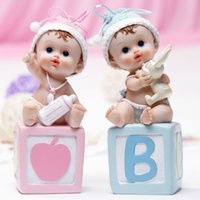 Wholesale New Arrivals lovely blue and pink baby letter fashion Doll cake topper ornaments Interior Accessories Articles birthday gift Desk ornaments