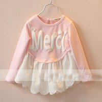 Wholesale Letter Cloth Decoration Dresses Spring New Arrival Shirts Lace Skirt Design Shirt for Girls