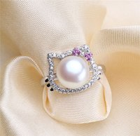 Wholesale KT cat PEARL RING silver shell pearl ring opening adjustable g
