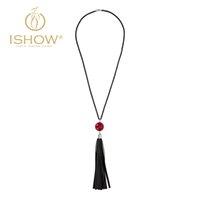 beads plastic beads - Novel generous women electrophoresis necklace Pu skin Tassels pendant necklace red glass bead necklace white glass beade necklace