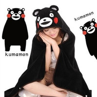 black hooded cloak - 2014 Cosplay Cosplay Cute Kawaii Anime Kumamon Bear Black Soft Coral Fleece plush Adult Hooded Cloak Shawl Cape Wrap Blanket