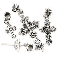 Cross cross bracelet - 6Styles Mixed Tibetan Silver Assorted Cross Dangle Big Hole Beads Fit European Pandora European Charm Bracelet DIY