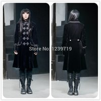 Cheap gothic coat punk winter warm coat long trench coat for women fashion trench outwear cosplay black clothes for party M070060