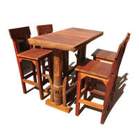 aluminum restaurant chair - Thai wood crafts boutique creative restaurant tables home bar high table and chairs Southeast teakwood
