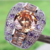 amethyst engagement - 2015 A0080 Round Topaz Lady Engagement Jewelry Free Ship AR5 Round Cut Morganite Amethyst Gemstone Silver Ring Size In Stock