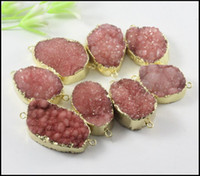 Wholesale 5pcs Nature Druzy Crystal stone Connector in red color Quartz Drusy gemstone Connector Gold Plated Druzy Pendant Beads Jewelry Findings