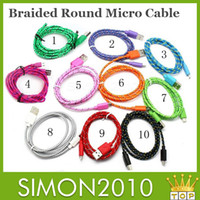 Wholesale Woven round Data Sync Adapter charge line m FT Extension Cable Nylon Sync Data color Nylon Knit Wire Fabric v8 Lead line For Samsung