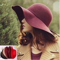 Wholesale Fashion vintage hat pure vivi woolen hat female autumn and winter waves large brim sunbonnet fedoras lady sun hat