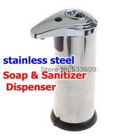 Wholesale 50pcs Automatic stainless steel Sensor Soap Sanitizer Dispenser Touch free Kitchen Bathroom Freeshipping