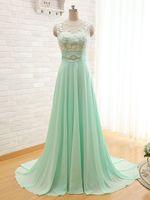 Cheap Mint Lace Chiffon Long Bridesmaid Dresses Scoop neckline appliques lace pears Floor-length zipper back custom made