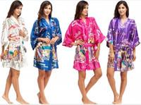 vintage lingerie - New Women Japanese Yukata Kimono Satin Silk Vintage Robe Sexy Lingerie Hot Geisha Sleepwear