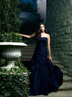 Wholesale Navy Blue Nina Dobrev Evening Dresses In Vampire Diaries Mermaid Sweetheart Taffeta Formal Prom Gowns Custom Made Formal Evening Gowns