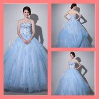 light blue wedding dress - 2015 attractive elegant Light Sky Blue Sweetheart neck wedding dress Ball Gown Strapless beaded crystals Embroidered Bridal Dress