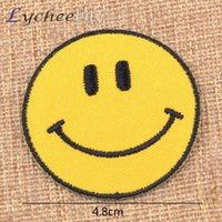 Wholesale Yellow Smile Face Embroidered Applique Patch Iron On Garment DIY Accessory