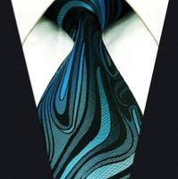 100% wool - Y17 Geometric Striped Indigo Turquoise Brand New Fashion Silk with handmade Men Necktie Tie
