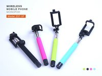 Wholesale Z07 F Foldable Selfie Stick With Wireless Bluetooth Remote Shutter Extendable Camera Shooting Monopod for iPhone IOS Android Samsung