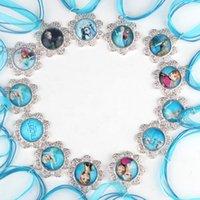 blue ribbon - New Frozen Necklaces Blue Ribbon Necklace Frozen Cartoon Anna Elsa Olaf Pendants Snowflake Shape Pendant for Kids Frozen Dress Decoration
