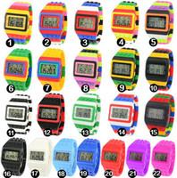 alarms mix - Mix Colors SHHORS Digital Watch Candy Night Light Up Flash Flashing Waterproof Unisex Jelly Rainbow Alarm Watch WR008