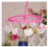 Wholesale New Hello Kitty Slip Hanger Underwear Rack Plastic Socks Clothespin Drying Clip