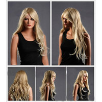 Wholesale Fashion Long Sexy Style Natural Wave Blonde Wig New Style Ladies Wig Long Curly Hair Oblique Bangs Volume Wig Hairpiece For Party