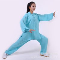 Wholesale breathable and comfortable practicing tai chi clothing Wushu performance clothing for men and women section lake blue