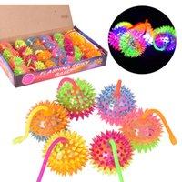 Wholesale FLASHING LIGHT UP BABY FINGER BALLS LED Bounce BALL Sounding Toys Kids Gift Silicone Sounding Finger Toys