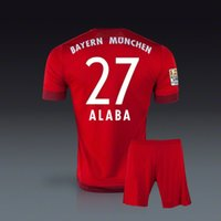 Wholesale David Alaba German Bundesliga club home red soccer jersey short uniforms kits football kits sportswear