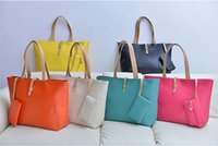 Wholesale Fashion Women PU Leather Totes Bags Hot Satchel Lady Bags Shoulder Messenger Handbag with Free Coin Purse MYF26 Candy Colors
