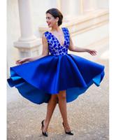 2016 del azul real por encargo sin espalda con cuello en V vestidos de coctel cortos tapa del cordón del satén formal atractiva vestidos de fiesta vestidos baratos del partido