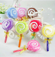 Wholesale 1pcs Novel Wedding Party Decor Favor Lollipop Kid Baby Shower Hand Towel Washcloth