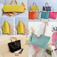 Wholesale Fashion Candy Colors Women PU Leather Totes Bags Hot Satchel Lady Bags Shoulder Messenger Handbag with Free Coin Purse MYF26