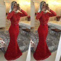 Cheap Long Sleeve Boat Neck 2015 Long Mermaid Evening Dresses Sexy Pearls Illusion Sweep Train Plus Size Evening Red Gowns With Sash sh0015