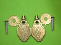 Wholesale 2sets furniture pull brass copper drawer Knobs flower Handles ornate swing