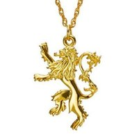 badge pendants - 2015 Hot Movie Jewelry Song Of Ice And Fire Game Of Thrones Lannister two sided Lion Alloy Badge Pendant Necklace Statement necklace jewelry