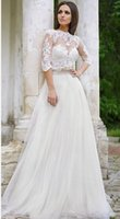 Wholesale Charming Crew Neck Lace See Through Sleeves Wedding Dresses Pleats Floor Length Bridesmaid Dress Plus Size Tulle Wedding Gowns