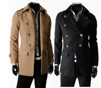 Wholesale DOUBLE BREASTED MN LONG COAT MENS WINTER COAT TRENCH COAT FOR MAN PC