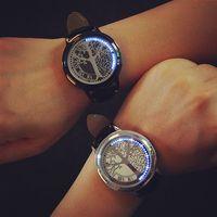 Wholesale New Black Touch Screen Creative Blue LED Flashing Digital Mens Watch Wrist Watch Fashion Binary Touch Screen LED Watch
