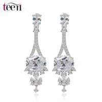 Wholesale Teemi White Gold CZ Wedding Earrings Jewelry AAA Cubic Zirconia Fashion Korea Long Dangle Earrings Fine Jewerly For Fancy Bridal