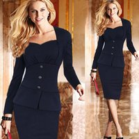 Cheap Womens Autumn Elegant Peplum Work Business Bodycon Cocktail Party Sheath Dress