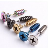 Wholesale 1PCS Titanium Anodized Stainless Steel Body Jewelry Helix Ear Piercing Punk Lag Spike Ear Stud Earring Fake Stretchers Plug AOO1