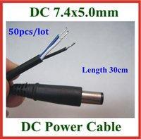 50pcs DHL DC enchufe de la extremidad 7,4 * 5,0 mm 7.4x5.0mm DC cable de alimentación con la aguja hacia dentro para Dell Laptop HP cable del cargador de CC Cable 30cm